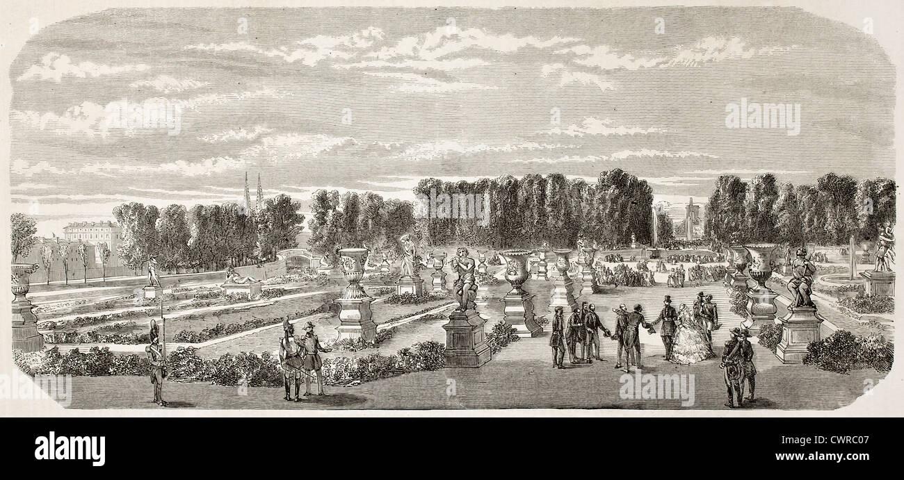 Tuileries garden old view, Paris - Stock Image