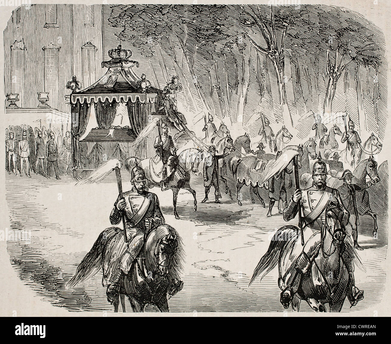 funerary procession of Duchess Stephanie - Stock Image