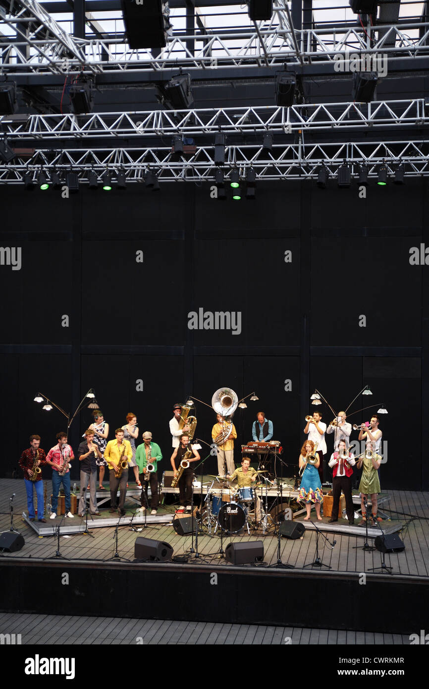 Surnatural Orchestra in live concert at the Domaine d'O in Montpellier, France Stock Photo