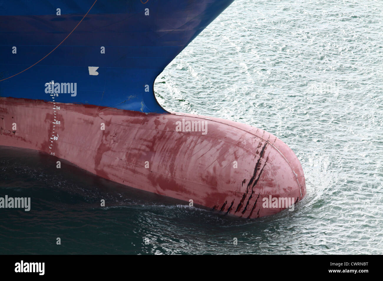 a ship s bulbous bow with load lines stock photo 50308828 alamy
