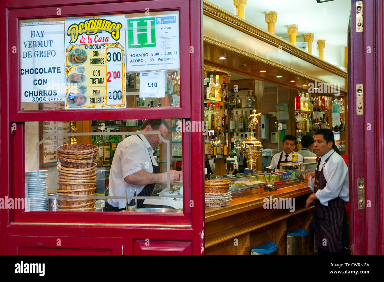 Waiters in a typical tavern. Main Square, Madrid, Spain. - Stock Image