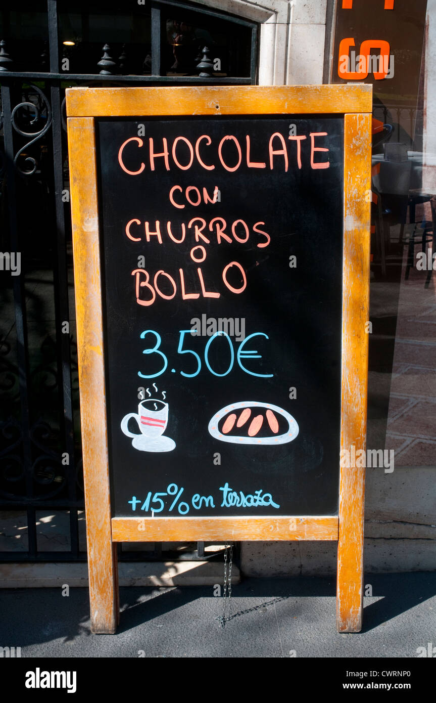 Breakfast menu board. Madrid, Spain. - Stock Image