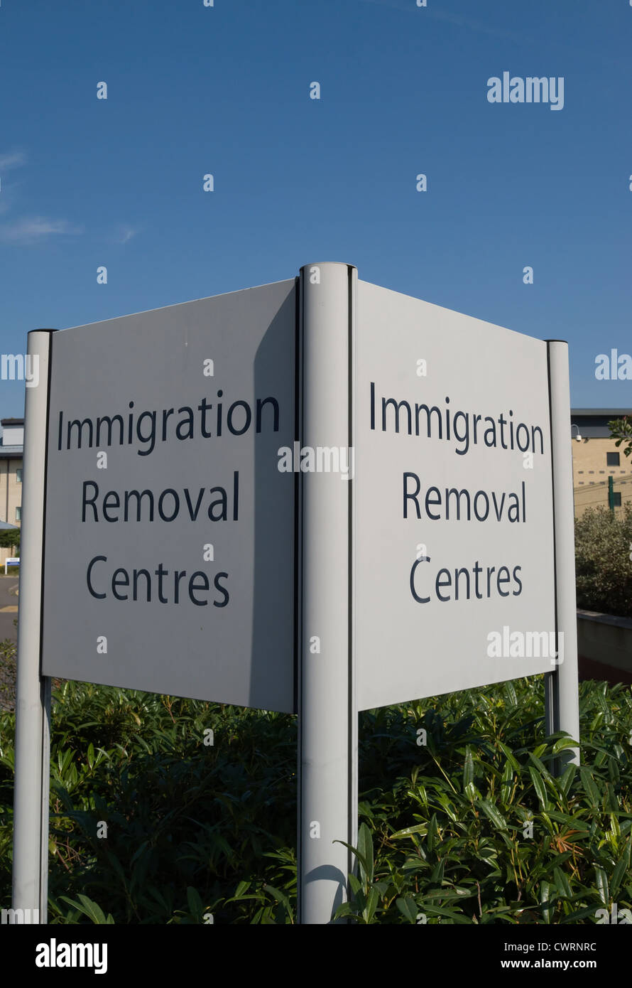 double sided sign for immigration removal centres at colnbrook immigration removal centre, harmondsworth, near heathrow, - Stock Image