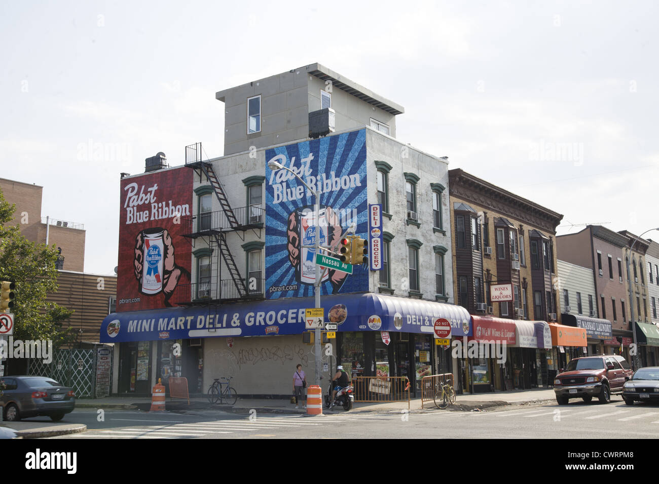 Pabst Blue Ribbon Beer ads along Nassau Avenue in Greenpoint, Brooklyn, NY. - Stock Image