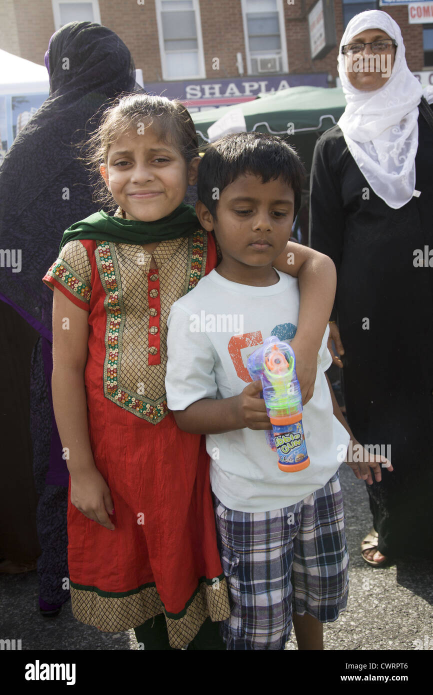 Banglade4shi American children born in the US at a Bangladeshi Street Festival in Brooklyn, NY. - Stock Image