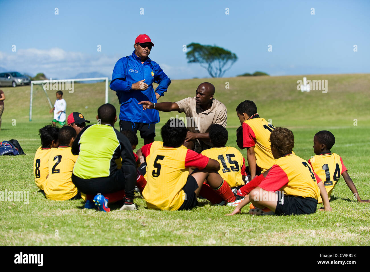 Football youth team at Strandfontain tournament, Cape Town, South Africa - Stock Image
