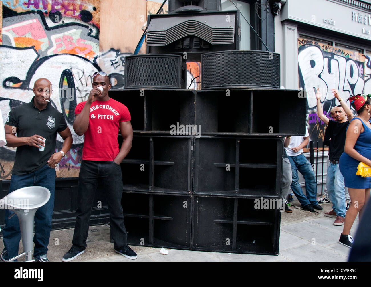 Large speakers from sound systems in backstreets  at Notting Hill Carnival - Stock Image