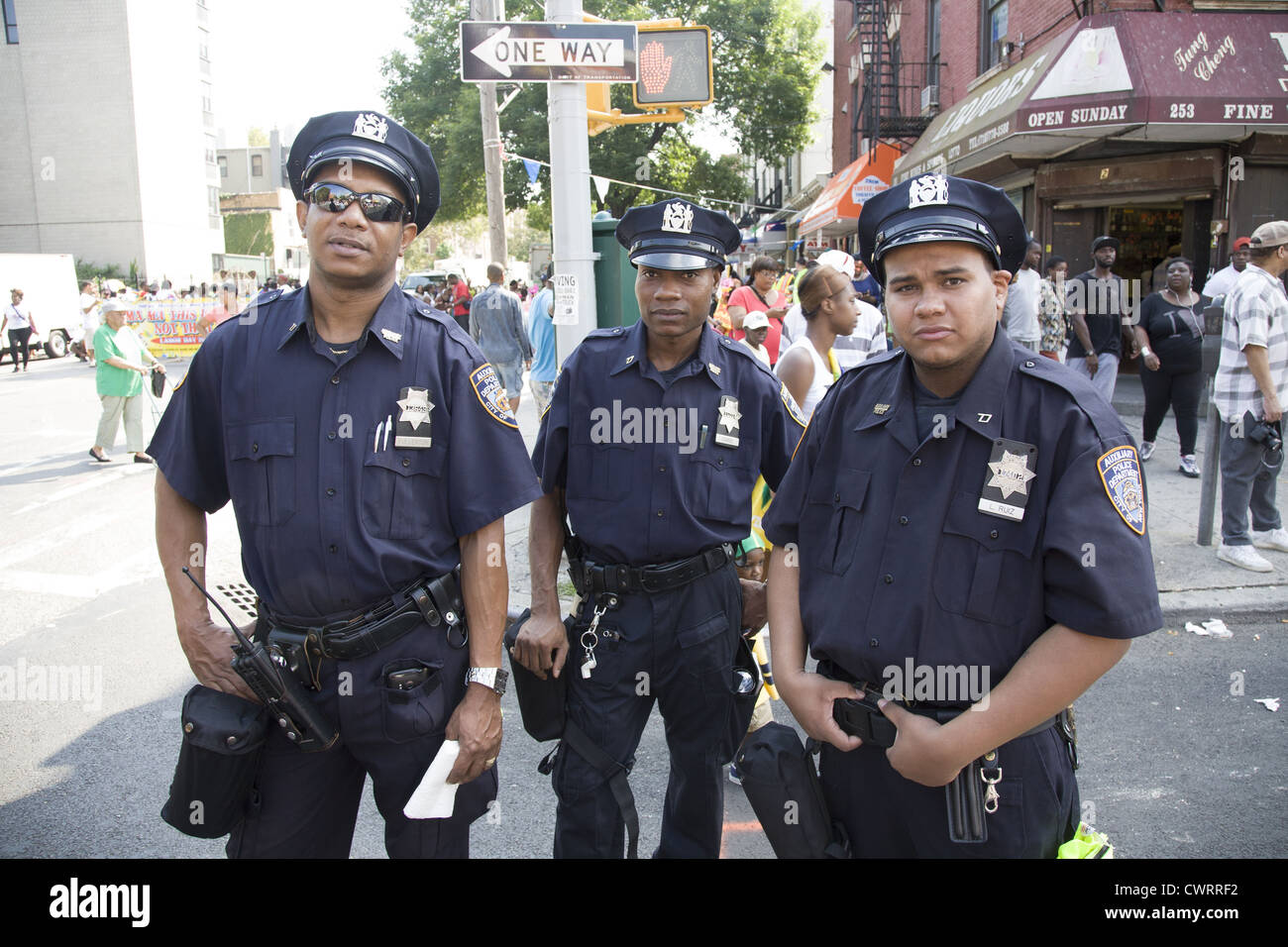 NYPD Auxiliary Police officers working a parade in Crown Heights Brooklyn, NYC. - Stock Image