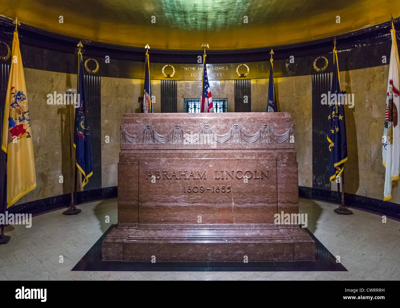 The tomb of President Abraham Lincoln, Oak Ridge Cemetery, Springfield, Illinois, USA - Stock Image