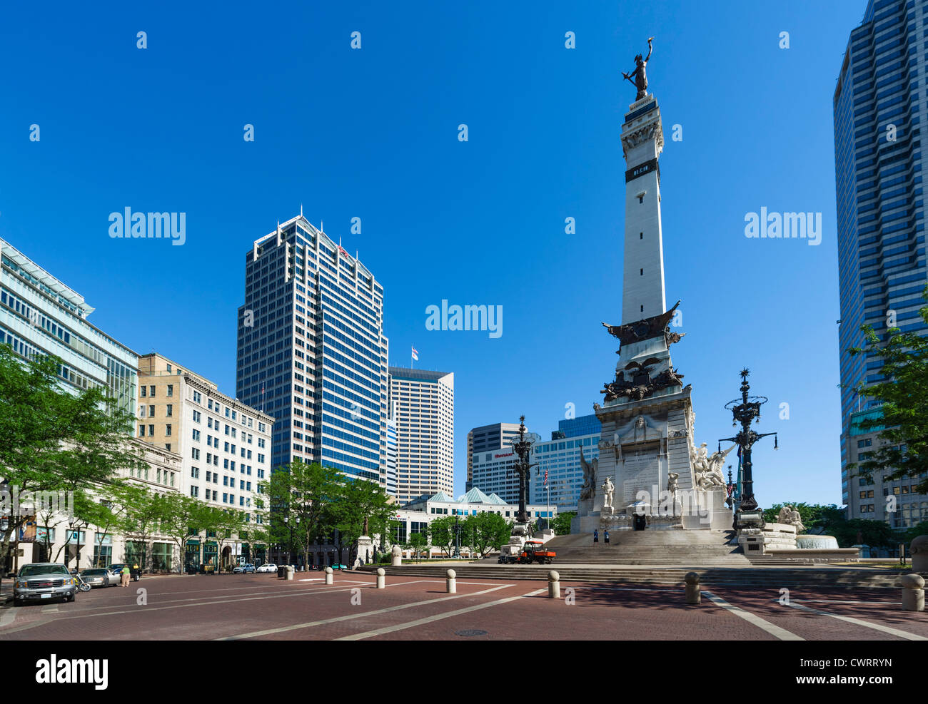 The Soldiers and Sailors Monument in Monument Circle, Indianapolis, Indiana, USA - Stock Image
