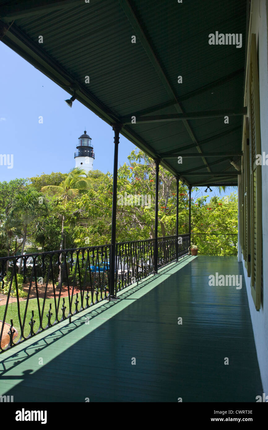 TOP FLOOR BALCONY ERNEST HEMINGWAY HOME MUSEUM KEY WEST OLD TOWN HISTORIC DISTRICT FLORIDA USA Stock Photo
