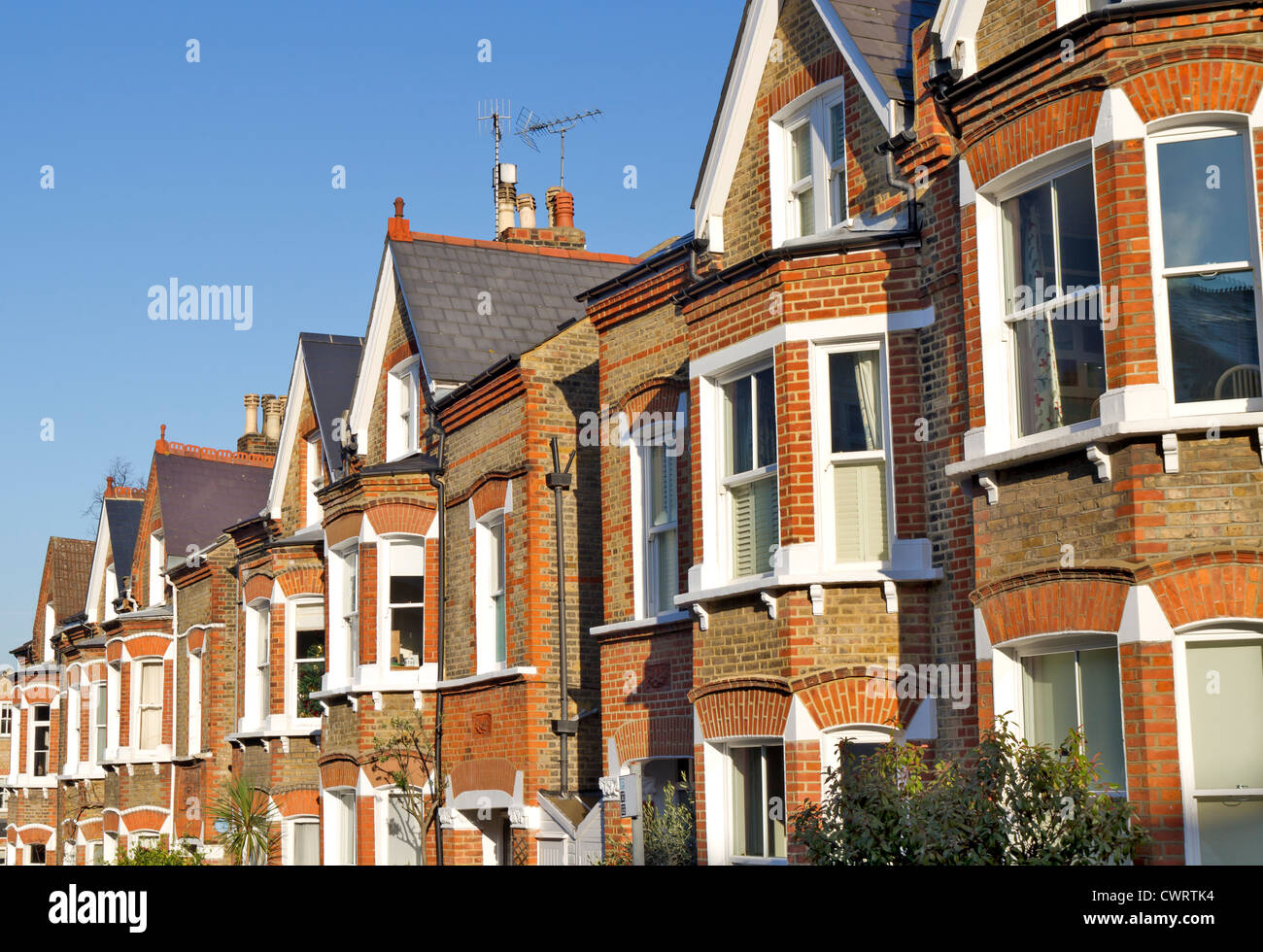 Row of Typical English Houses in Richmond London - Stock Image