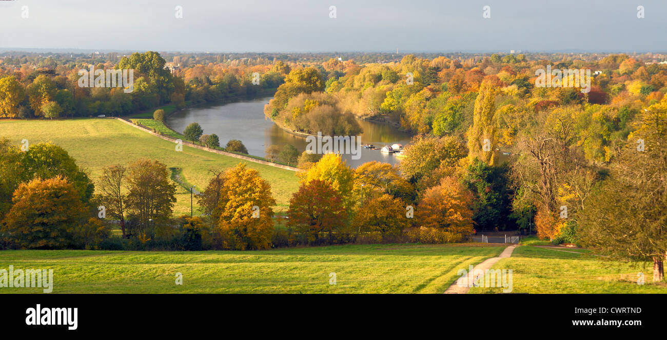 View from Richmond Hill in Autumn - Stock Image