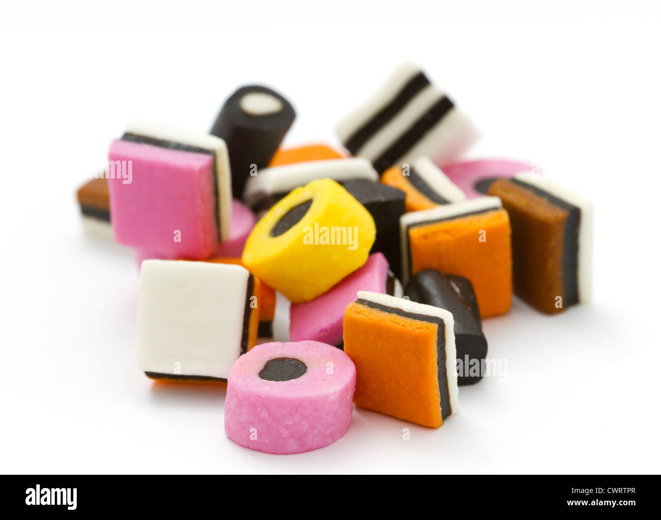 Selection of liquorice allsorts with shallow DOF - Stock Image