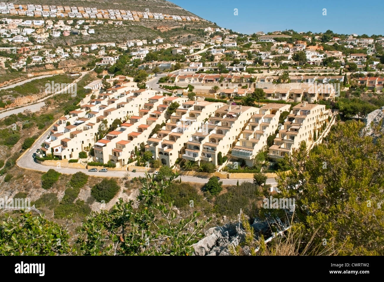 Apartments in the Pueblo de Luz area of the urbanisation (urbanizacion) Cumbre del Sol. Benitachell. Costa Blanca - Stock Image