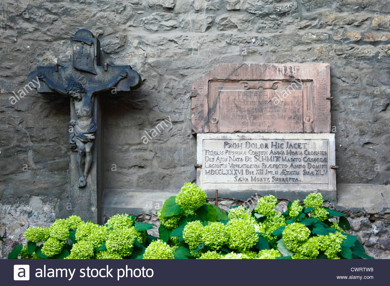 Prague, old tombstones in a church. - Stock Image