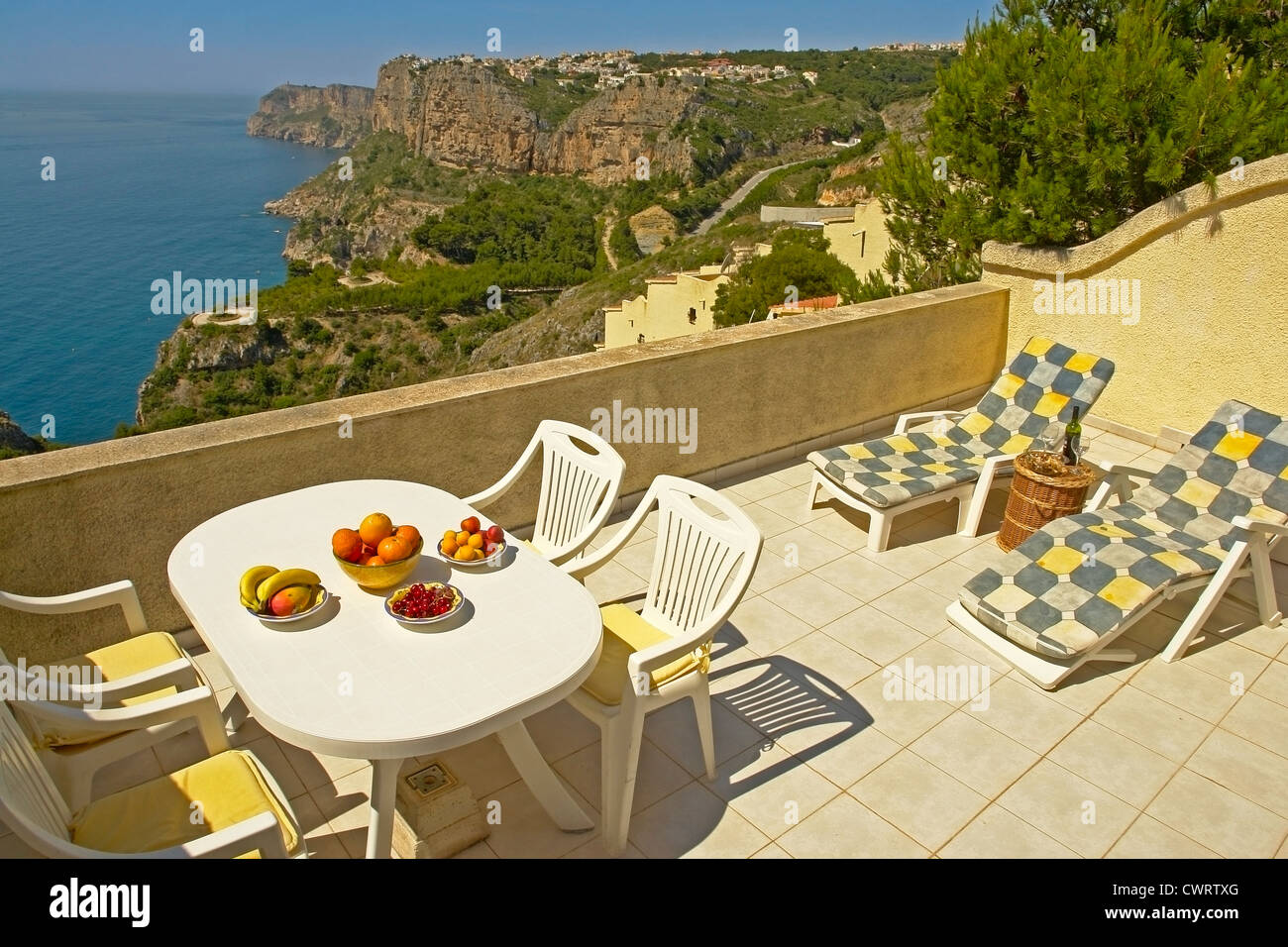 Apartment terrace on the Urbanisation (urbanizacion) Cumbre del Sol. Benitachell (Benitaxell). Costa Blanca Spain - Stock Image