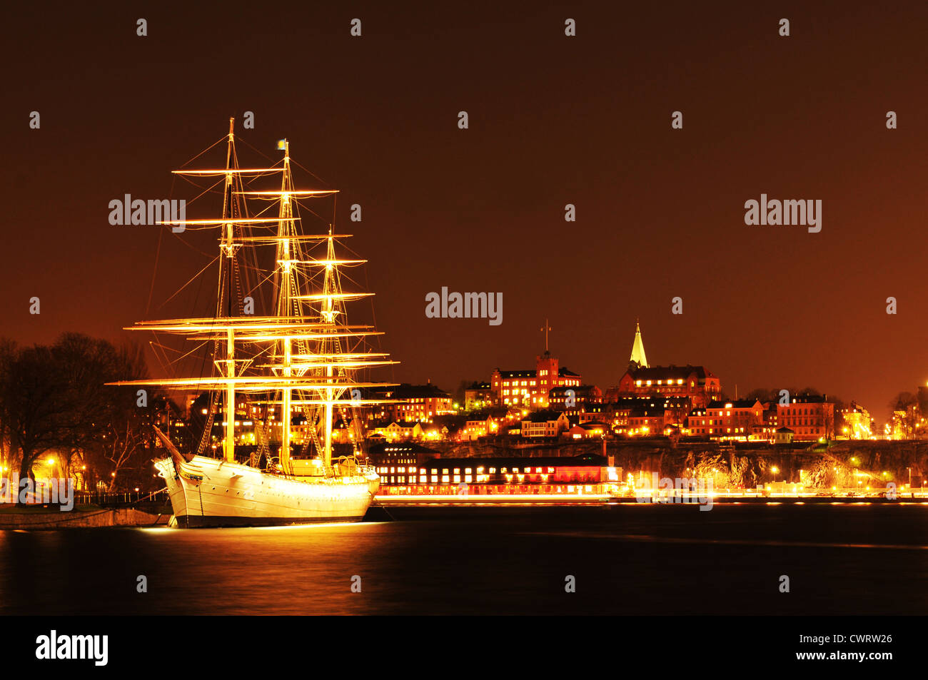 Ship anchored in Stockholm, Sweden at night - Stock Image