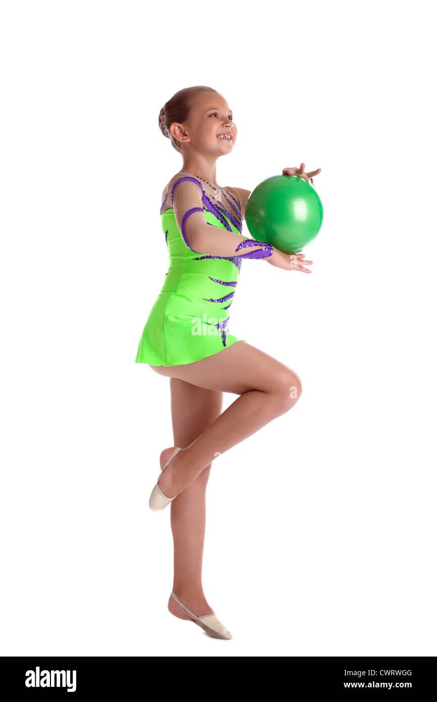 Young teen girl gymnastics properties turns