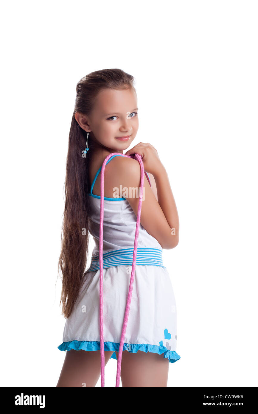 Young Teen Gymnast Posing With Skipping Rope Isolated