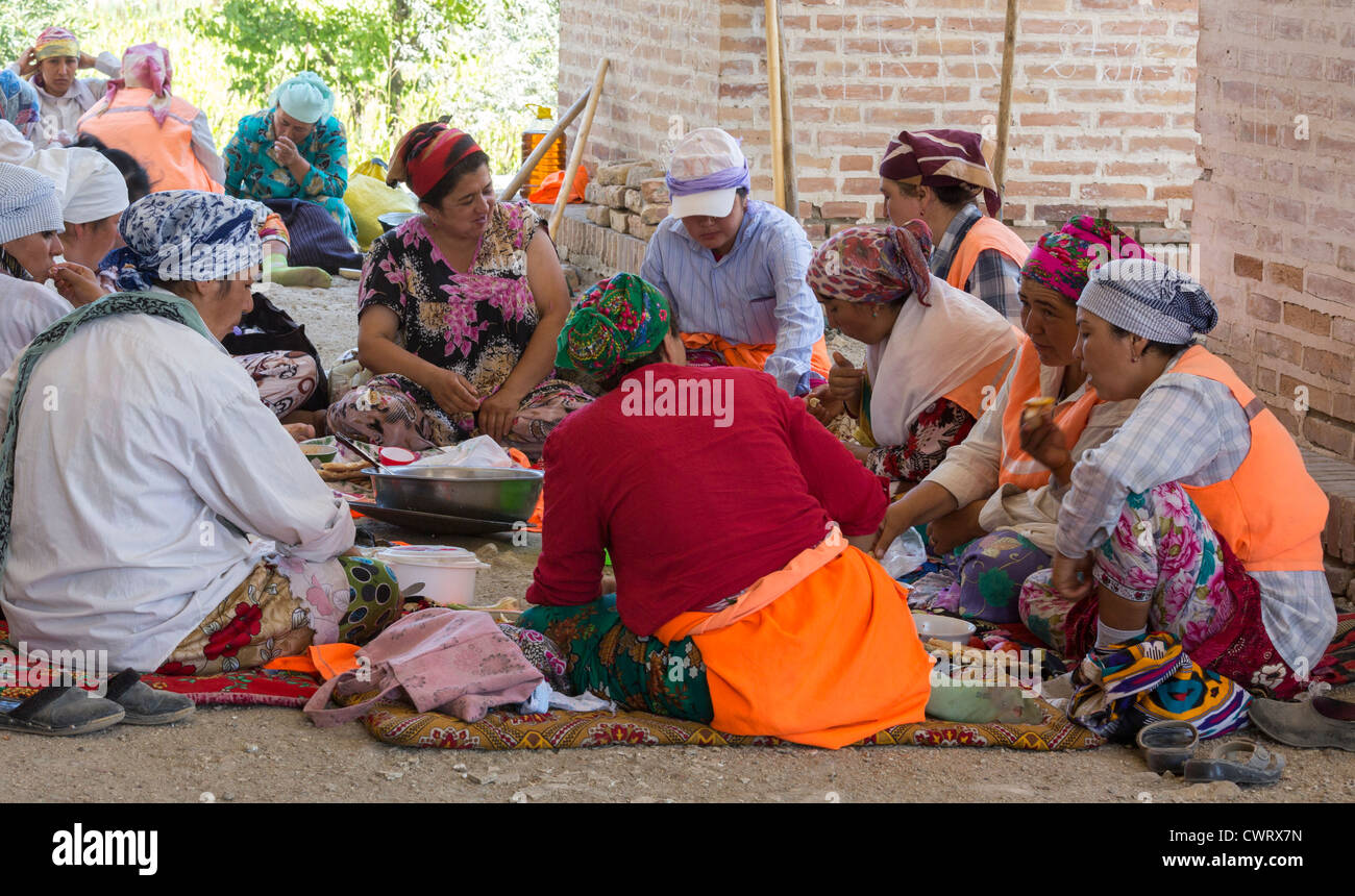 female manual labourers taking lunch break, Bukhara, Uzbekistan - Stock Image