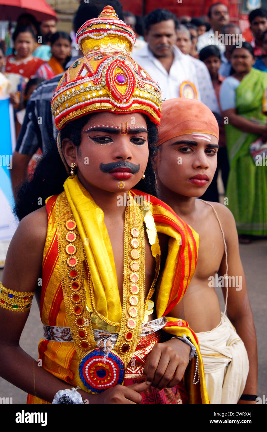 Onam Festival of Kerala India and the Children dressed up as the legendary King Mahabali (maveli) and Vamana (Lord - Stock Image