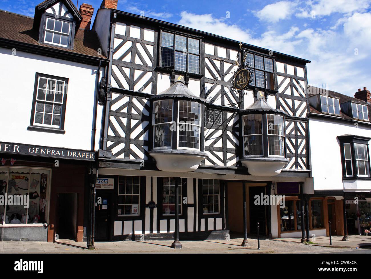 The Angel Hotel Historic Town of Ludlow Shropshire England UK United Kingdom EU European Union Europe - Stock Image