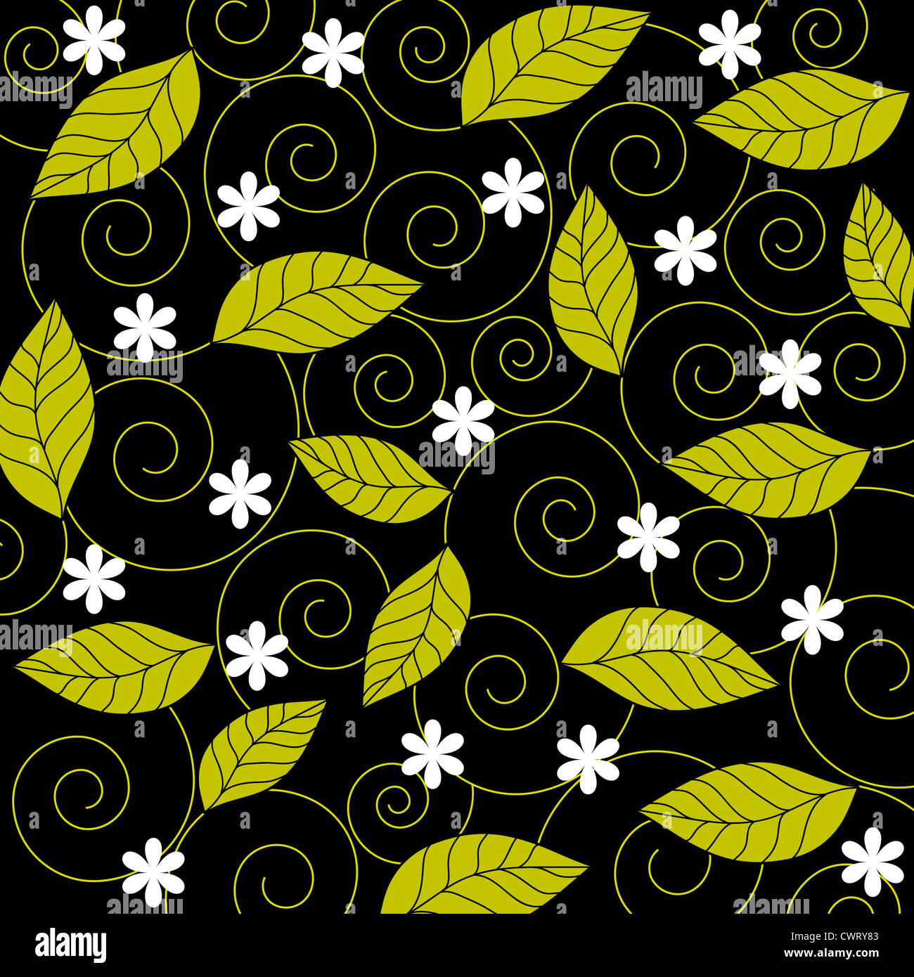 Flowers, leaves and spiral pattern on black Stock Photo