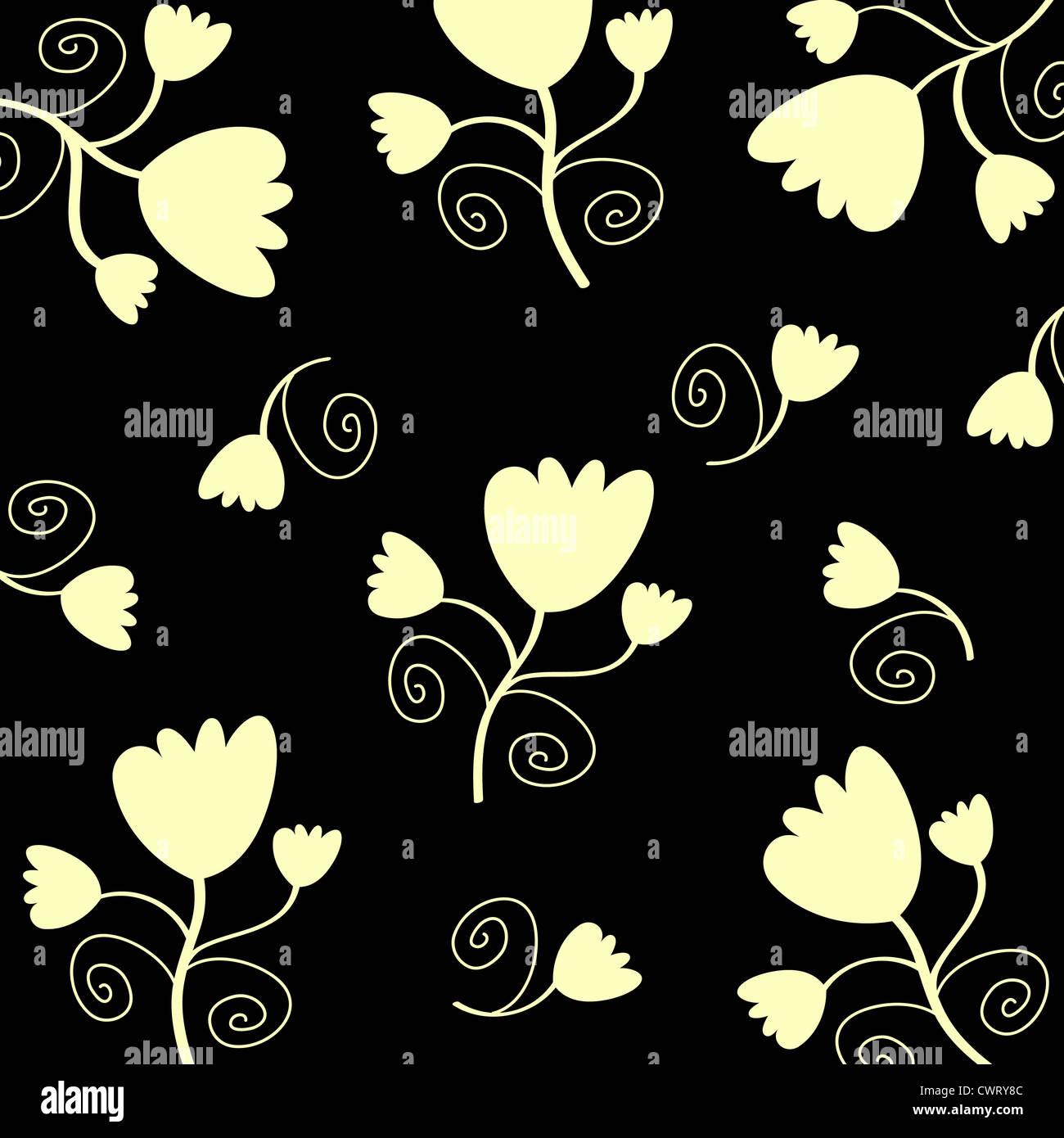 Tulips flower pattern on black Stock Photo