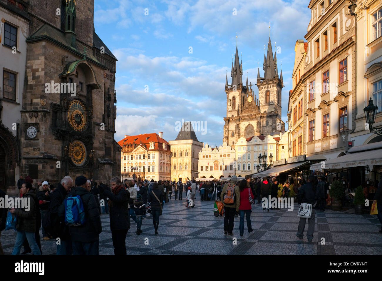 Prague, Czech Republic: Old Town Square, with the Astronomical clock on the left and the Tyn Church prominent in - Stock Image