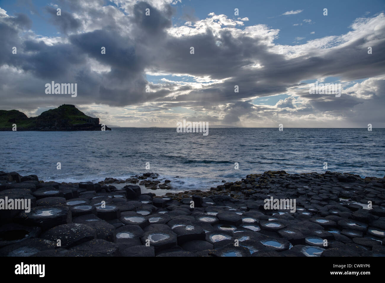 view of Giant's Causeway, County Antrim, Northern Ireland - Stock Image
