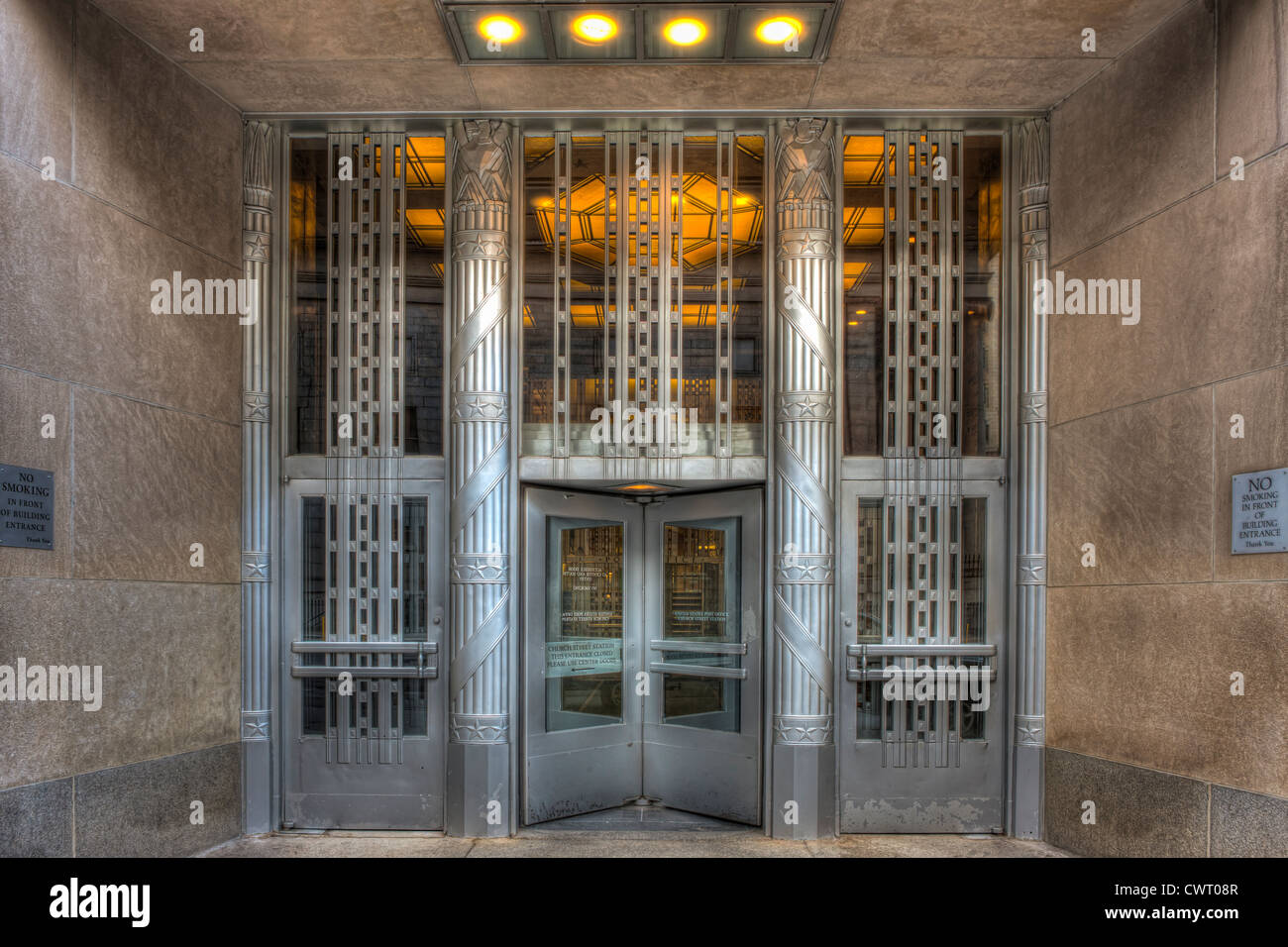 art deco office. the art deco entrance to church street post office building in new york city p