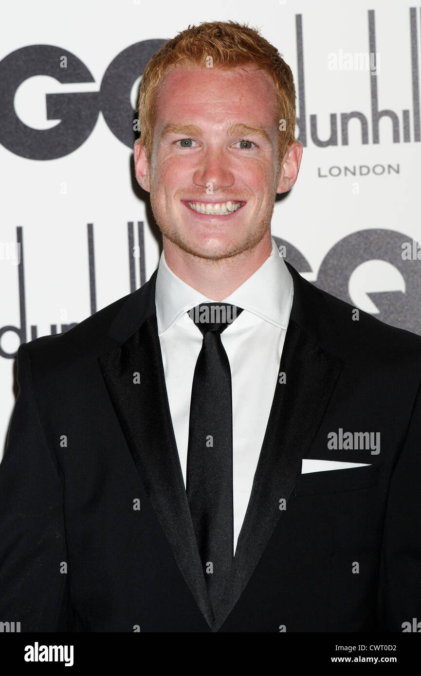 Greg Rutherford arrives for the GQ Men of the Year Awards at a central London venue. - Stock Image