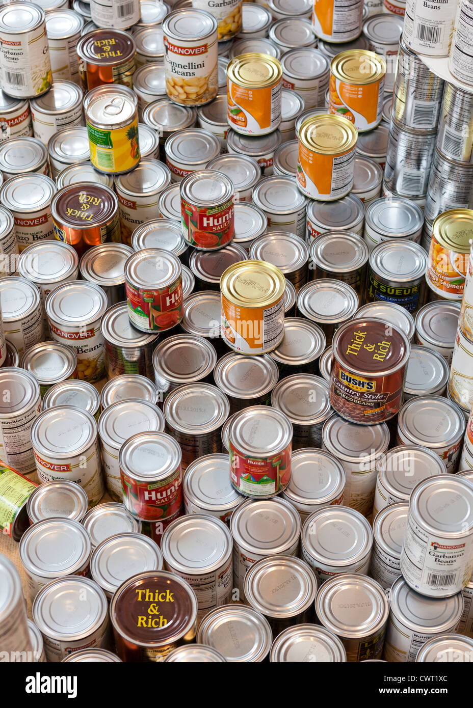 Stacked canned food - Stock Image