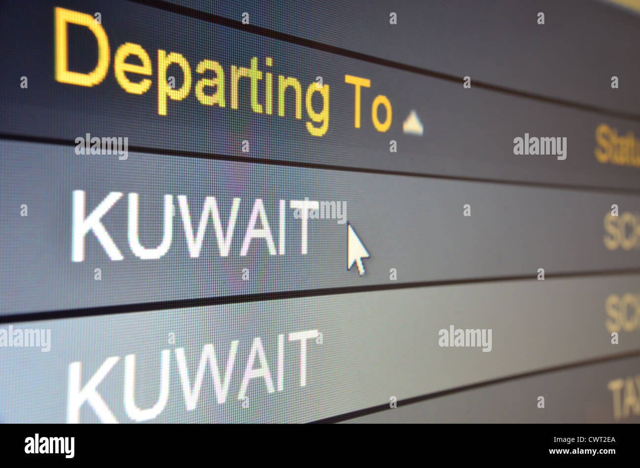 Computer screen closeup of Kuwait flight status - Stock Image