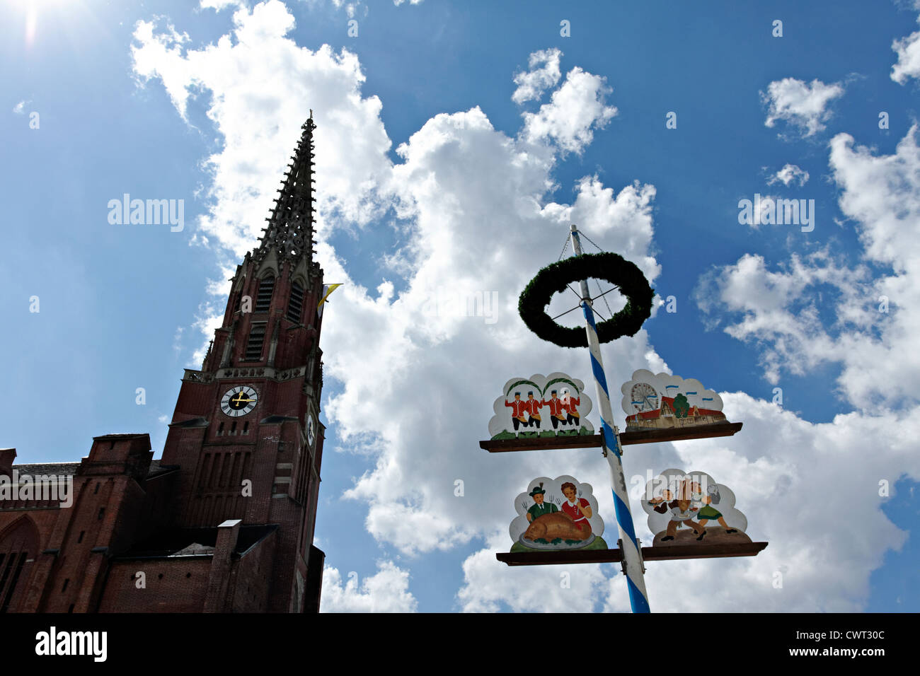 Auer Dult Maypole and Maria Hilfe Church, Munich Upper Bavaria Germany - Stock Image