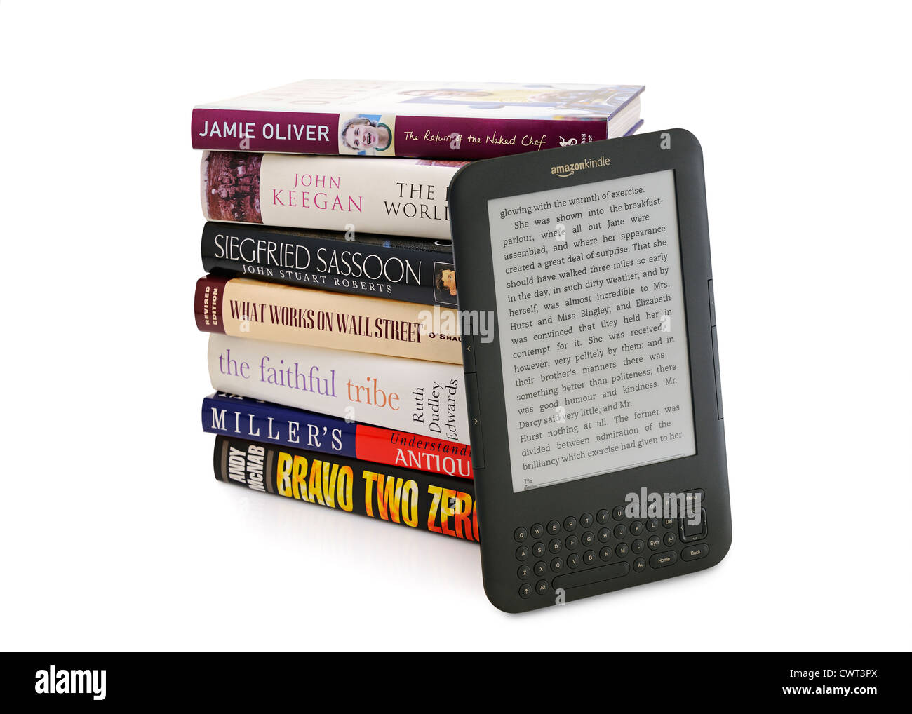 eBook Reading Device and Traditional Books. Cut Out. - Stock Image