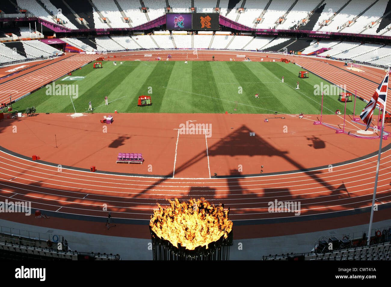 Olympic flame at the Olympic Stadium, London 2012 - Stock Image