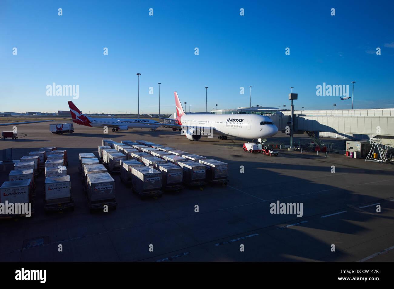 Qantas aircraft at Brisbane Domestic Terminal Australia - Stock Image