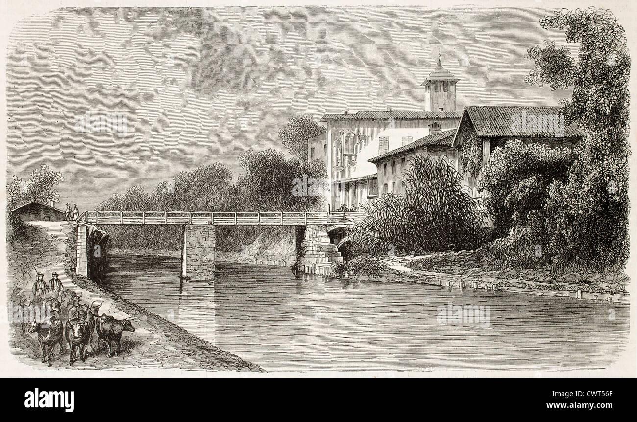 Magenta bridge old illustration, Italy - Stock Image