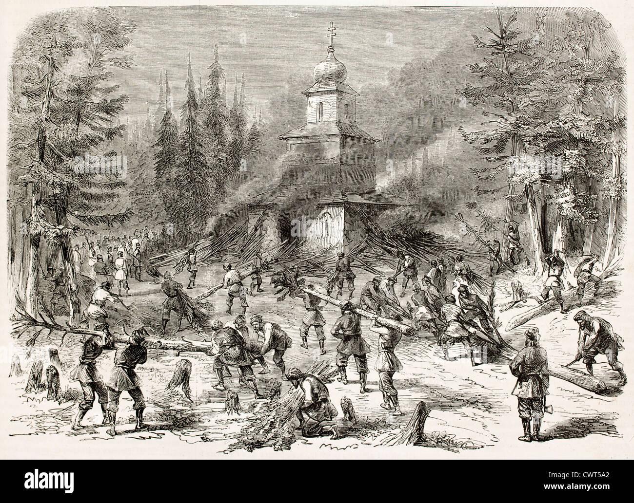 Polish insurgents burning Greek church Stock Photo