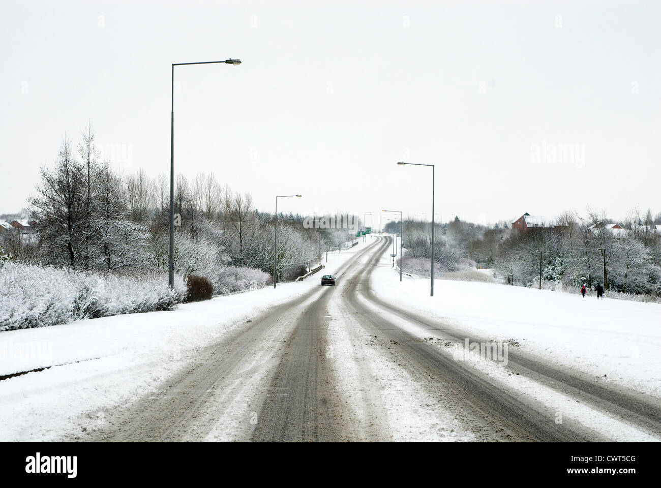 Snow covered roads - Stock Image
