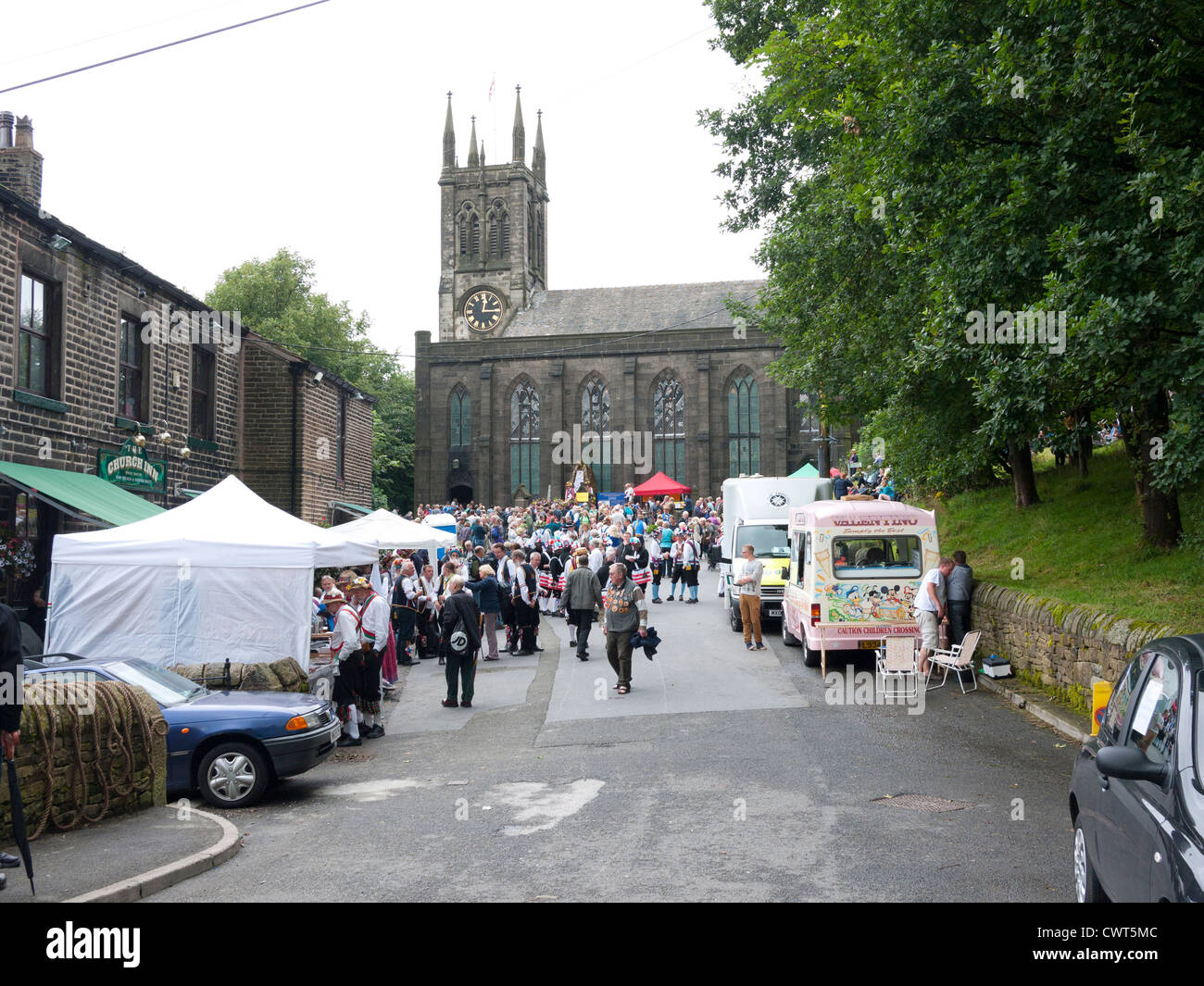 Parish Church of St Chad during the Rushcart Festival, Uppermill, Greater Manchester, Saddleworth, England, UK. - Stock Image