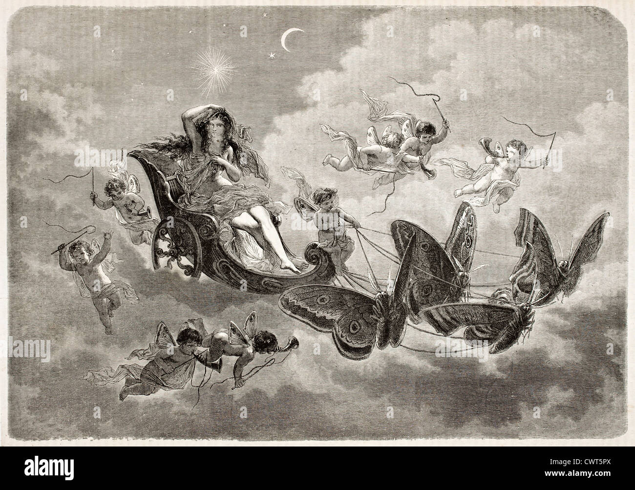 The Night old allegorical illustration - Stock Image