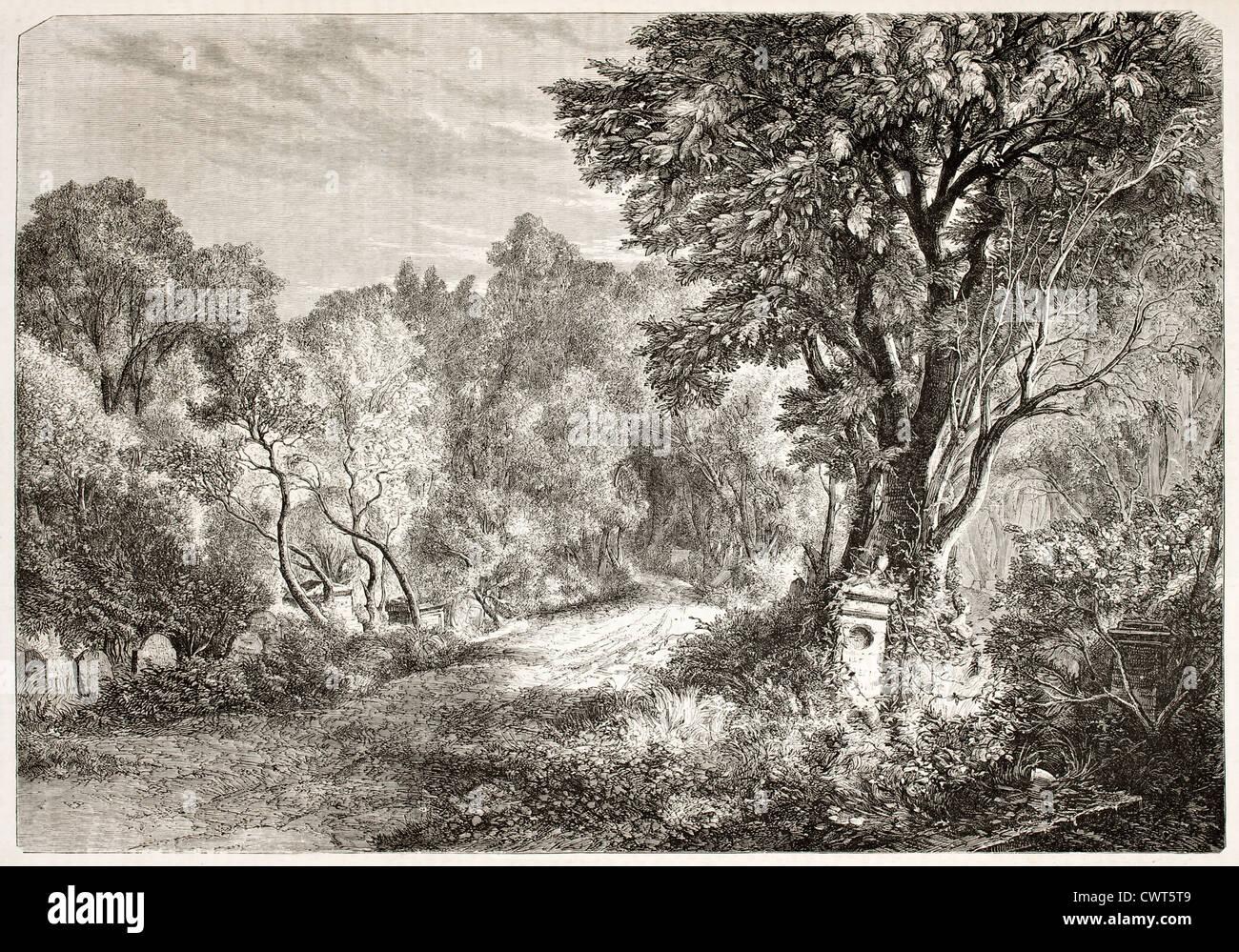 Vaugirard cemetery old view, Paris - Stock Image