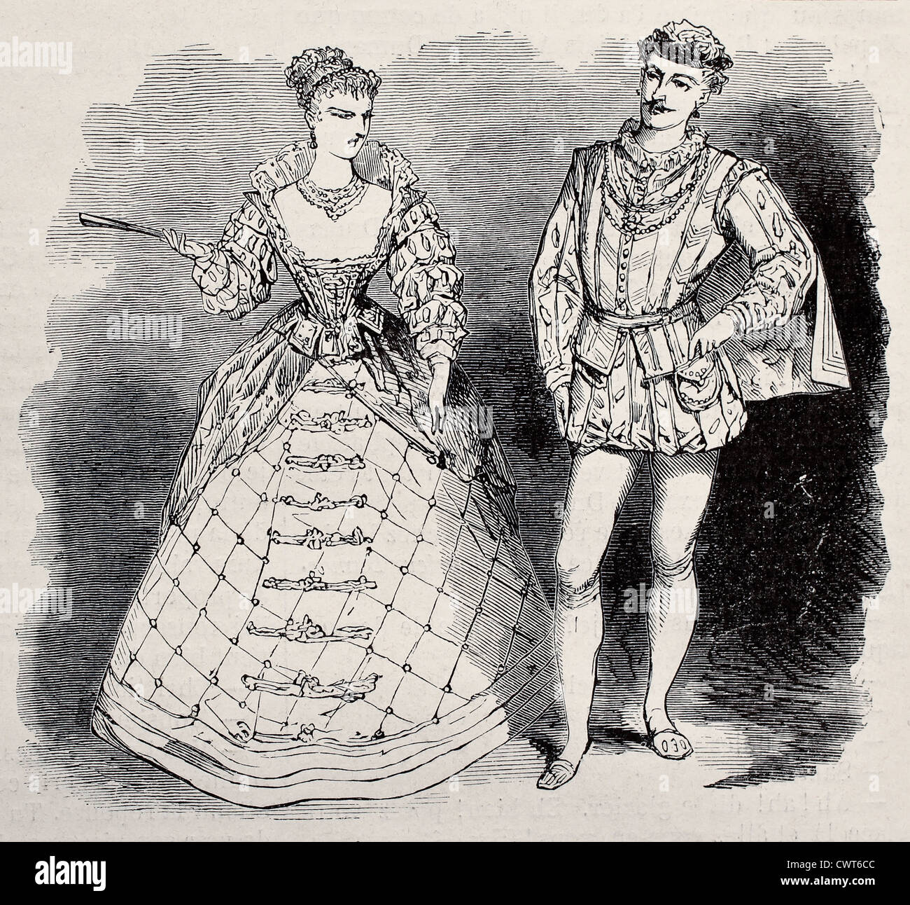 17th century aristocratic costumes - Stock Image