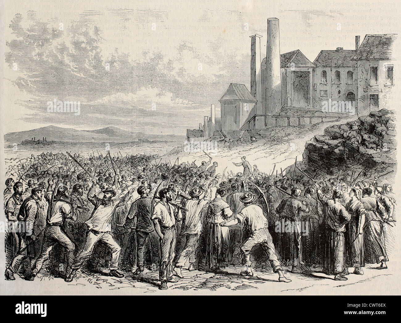 Workers riot at Hazard cool mine - Stock Image