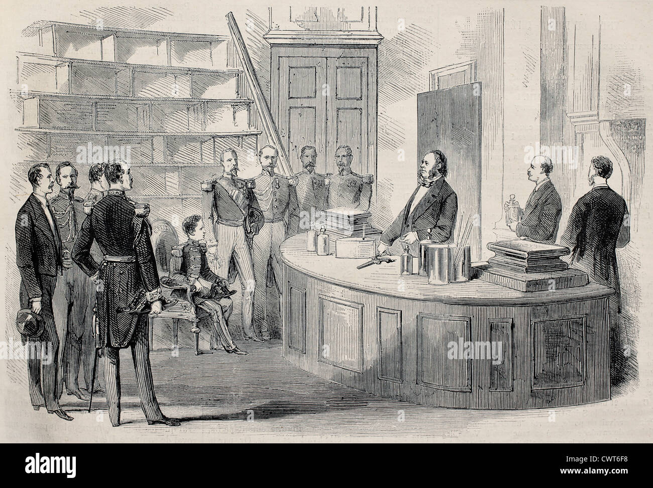 Prince Imperial visiting chemistry lab - Stock Image