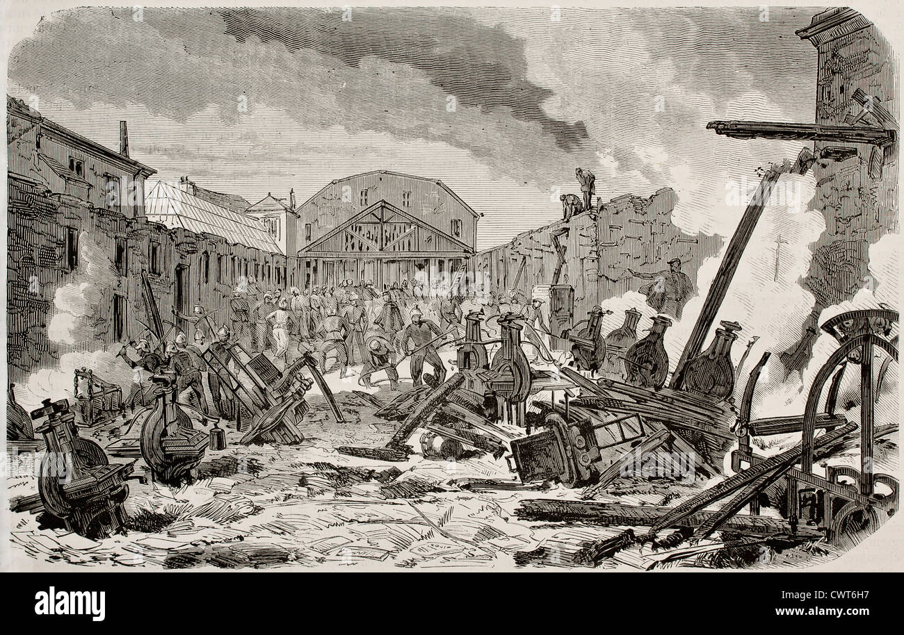 Destruction by fire of printing establishment - Stock Image