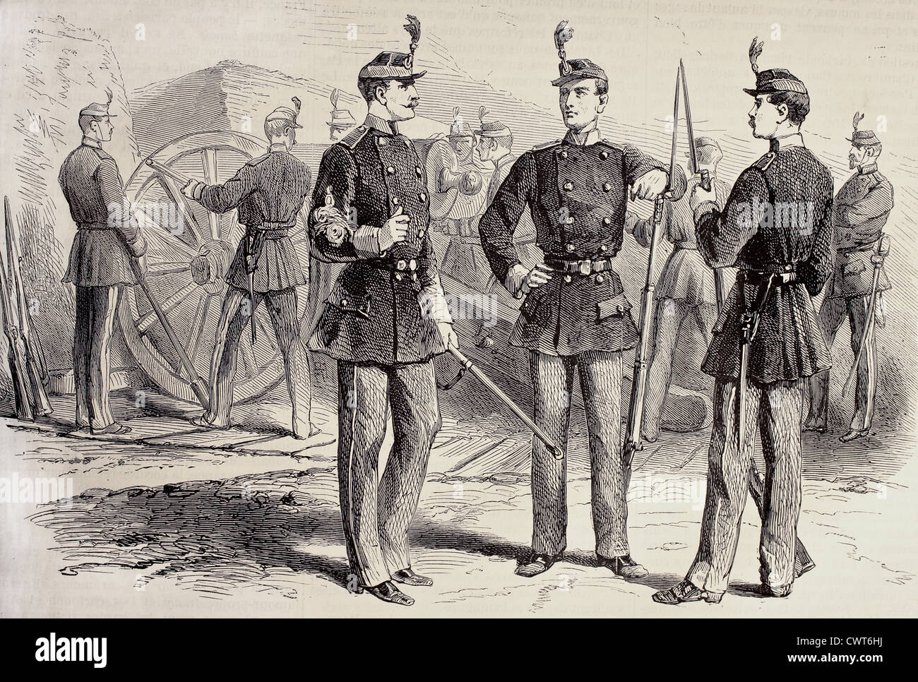 French National Guard uniforms - Stock Image